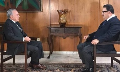 O presidente Michel Temer em entrevista ao apresentador Ratinho Foto: Divulgação/ / SBT