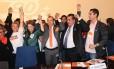 De gravata laranja, o presidente do PROS, Eurípedes Júnior, na convenção de 2014 do partido Foto: Divulgação