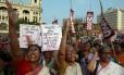 Protestos contra a onda de violência contra as mulheres na Índia em 2014 Foto: DIBYANGSHU SARKAR