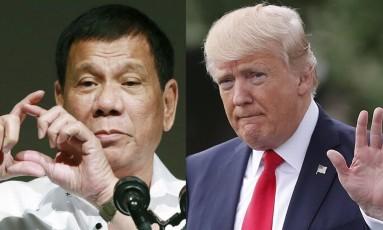 Montagem coloca lado a lado Rodrigo Duterte e Donald Trump Foto: Eugene Hoshiko, Pablo Martinez Monsivais / AP