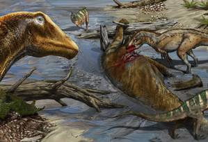 Galeamopus pabsti, à esquerda, é retratado em seu ambiente natural em ilustração Foto: Reprodução / Davide Bonadonna