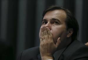 O presidente da Câmara dos Deputados, Rodrigo Maia, em sessão no plenário Foto: Ailton Freitas / Agência O Globo