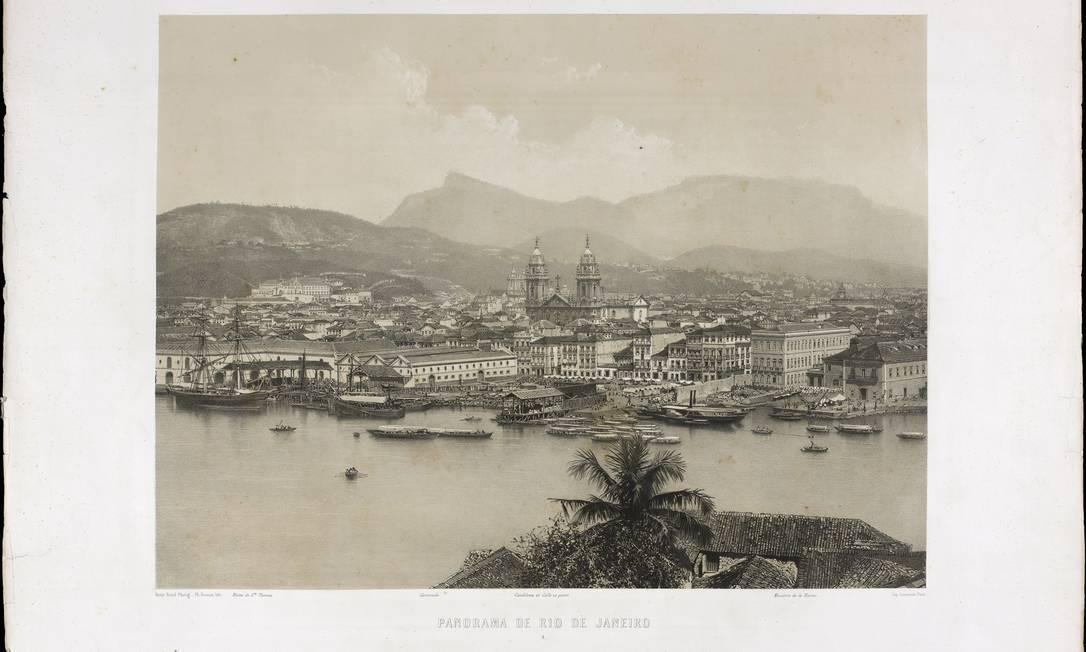 O Morro de Santo Antônio (à esquerda), com o convento de Santo Antonio à frente, em litografia de 1816. Foto: Divulgação