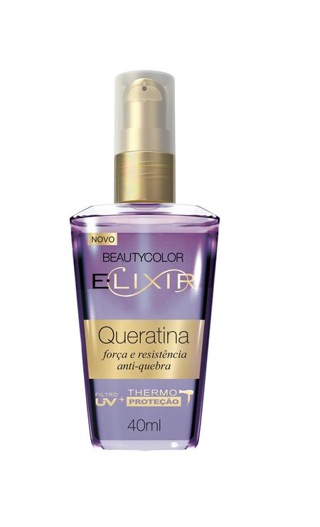 E.lixir Supreme Queratina, da BEAUTYCOLOR (beautycolor.com.br). Ideal para cabelos danificados e porosos. R$ 14,90 Foto: Divulgação
