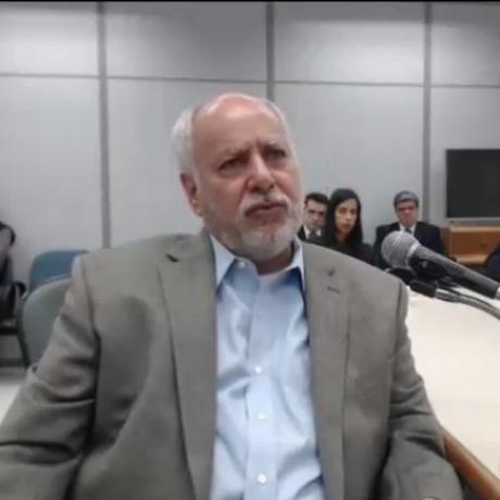 Renato Duque, ex-diretor de Serviços da Petrobras, durante depoimento à Justiça Federal Foto: Reprodução