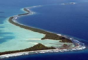 Atol de Funafuti, em Tuvalu, uma das ilhas ameaçadas pelo aquecimento global Foto: Torsten Blackwood / AFP