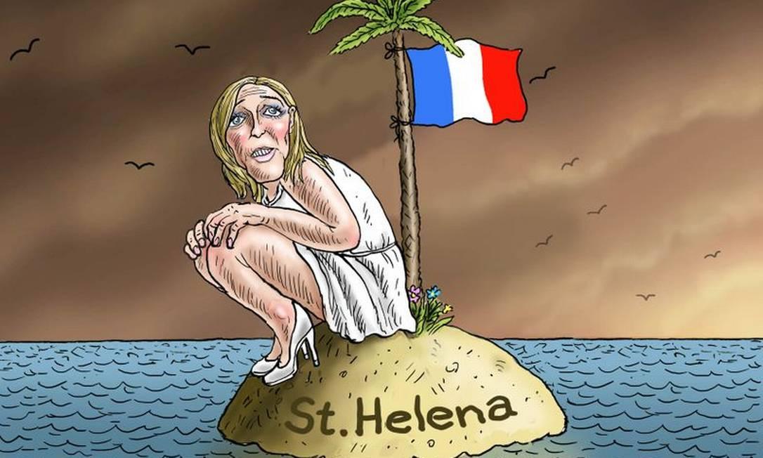 """""""Marine Le Pen on St. Helena"""". A charge faz alusão ao local onde Napoleão Bonaporte passou os seis últimos anos de sua vida exilado MARIAN KAMENSKY"""