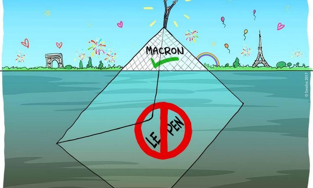 A vitória de Macron: charge mostra Macron no topo da pirâmide do Museu do Louvre, em uma França exultante. Porém, como um iceberg, a verdade sobre a sua escolha é diferente: a maioria dos votos a seu favor foram contra Le Pen SWAHA