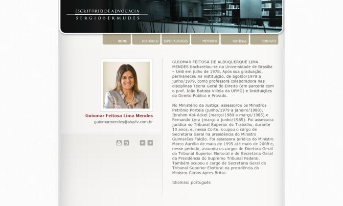 Curriculo de Guimar Mendes no site do escritório de advocacia Sérgio Bermudes Foto: Reprodução
