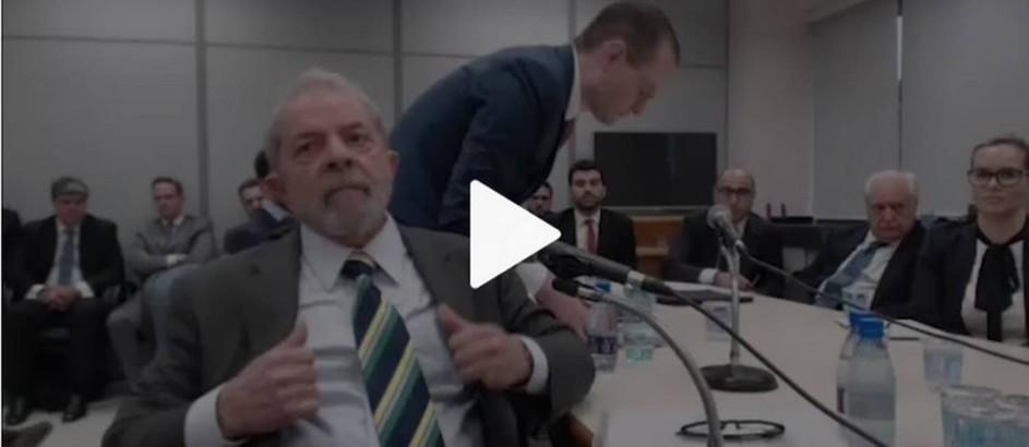 Lula depõe ao juiz Sérgio Moro, em Curitiba Foto: Reprodução