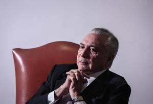 Temer diz não se incomodar com seus 9% de aprovação popular Foto: ANDRE COELHO / Agência O Globo
