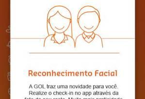 Interface do aplicativo da Gol para fazer reconhecimento facil Foto: Divulgação