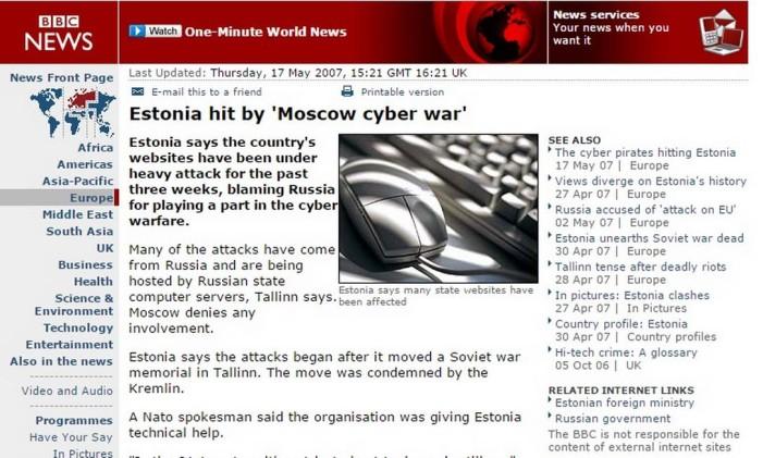 BBC mostra os ataques à estrutura cibernética da Estônia, em 2007 Foto: Reprodução