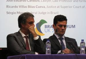 José Eduardo Cardozo e Sergio Moro durante o Brazil Forum, em Londres Foto: Luiza Bandeira