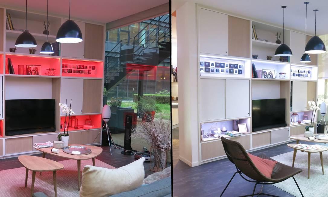 No show room da Schneider Electric em Paris, em um toque no celular iluminações diferentes para um mesmo cômodo transformam o ambiente Foto: Daiane Costa /