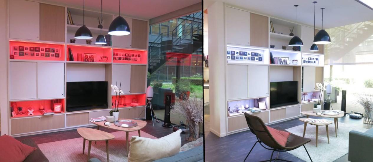 No show room da Schneider Electric em Paris, em um toque no celular iluminações diferentes para um mesmo cômodo transformam o ambiente Foto: Daiane Costa