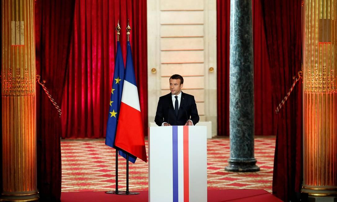 Em discurso de cerca de dez minutos, Emmanuel Macron disse que mundo precisa de 'França forte' Foto: François Mori / REUTERS