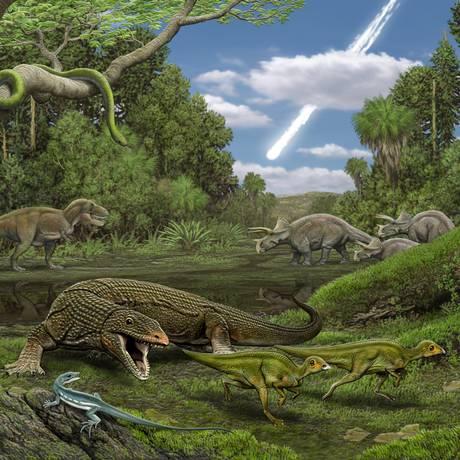 Ilustração mostra dinossauros, lagartos e cobras que habitavam a Terra no Cretáceo e foram dizimados pelo impacto de um asteroide, visto ao fundo Foto: Carl Buell / Divulgação