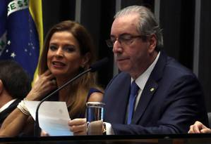 Cláudia Cruz, ao lado do marido, Eduardo Cunha, na época em que ele ainda era presidente da Câmara dos deputados em Brasília Foto: Givaldo Barbosa / Agência O Globo