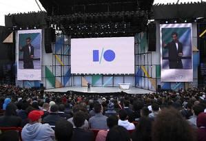 O diretor-executivo do Google, Sundar Pichai, durante a conferência Google I/O Foto: JUSTIN SULLIVAN / AFP