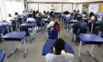 Carteiras vazias. A sala de aula onde Maria Eduarda estudava: depois da morte da menina, 16 alunos pediram transferência da Escola Municipal Jornalista e Escritor Daniel Piza, que, antes da tragédia, já enfrentava uma debandada