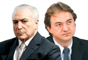 O presidente Michel Temer e o dono da JBS Joesley Batista Foto: Editoria de Arte