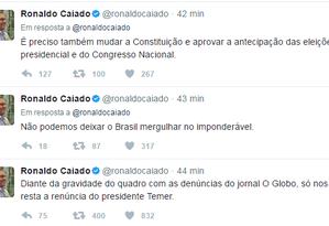 Tweets de Caiado sobre as revelações da delação dos irmãos Batista Foto: Reprodução