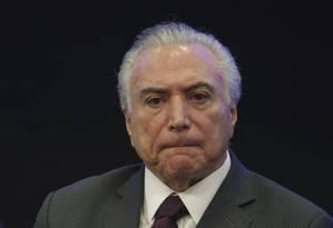 O presidente Michel Temer durante evento em Brasília Foto: Eraldo Peres / AP