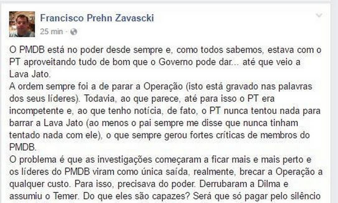 Franscisco Zavascki publicou desabafo eu seu perfil no Facebook Foto: Reprodução Facebook