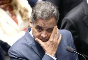O senador Aécio Neves (PSDB-MG) em sessão do Senado Foto: Jorge William / Agência O Globo