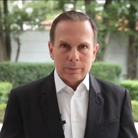 O prefeito de São Paulo João Doria fez um breve pronunciamento em vídeo, divulgado no Facebook Foto: Reprodução Facebook