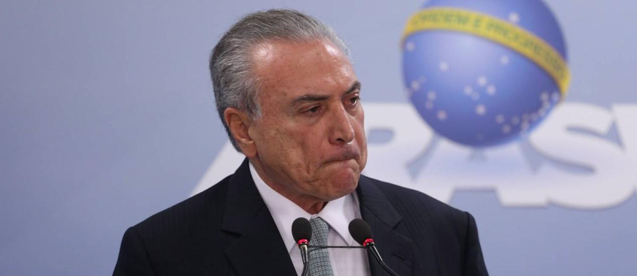 Presidente Michel Temer durante pronunciamento em Brasília Foto: André Coelho / Agência O Globo