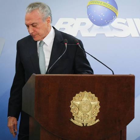 O presidente Michel Temer, após pronunciamento no Palácio do Planalto Foto: André Coelho / Agência O Globo