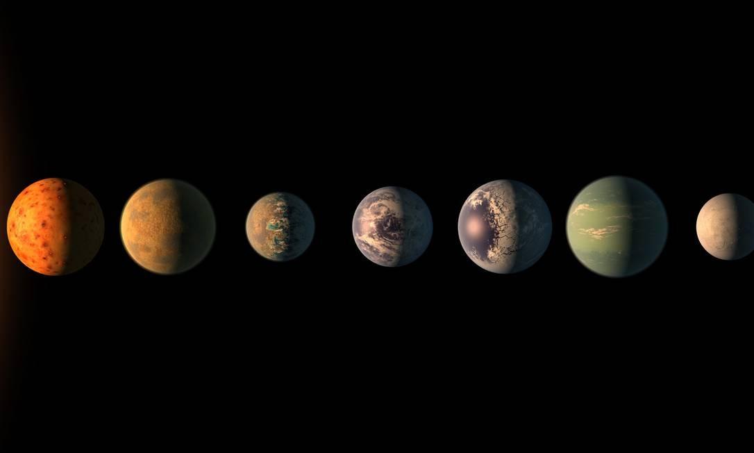Ilustração mostra os sete planetas com tamanhos calculados como parecidos com o da Terra recentemente descobertos no órbita da estrela Trappist-1: dois mais externos teriam conseguido reter atmosferas, sendo que o penúltimo, designado Trappist-1g, é o único deles dentro da chamada zona habitável da estrela Foto: Nasa/JPL-Caltech