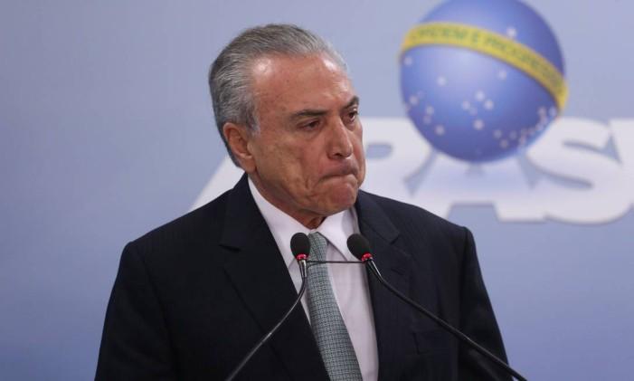 Temer duvidou de cassação e disse que ministros que vão julgá-lo têm 'consciência política' Foto: ANDRE COELHO/18-05-2017 / Agência O Globo