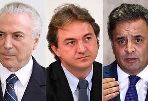 Montagem entre Michel Temer , Joesley Batista e Aécio Neves Foto: Montagem/O GLOBO
