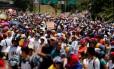 'Fora de Miraflores', pedem manifestantes em Caracas, referindo-se ao presidente Nicolás Maduro e o palácio presidencial