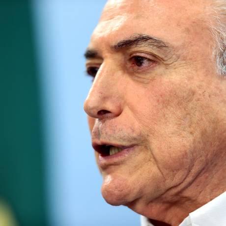 Temer fez pronunciamento à imprensa rebatendo a legalidade dos áudios da conversa com dono da JBS Foto: Jorge William / O Globo