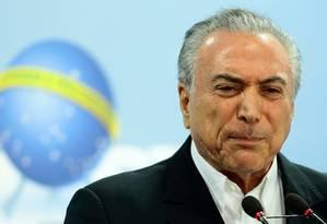 Presidente Michel Temer em pronunciamento neste sábado: impacto será avaliado com aliados Foto: Jorge William / Agência O Globo