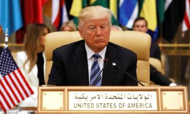 Presidente dos EUA, Donald Trump, fez seu primeiro discurso no exterior, durante visita à Arábia Saudita Foto: JONATHAN ERNST / REUTERS