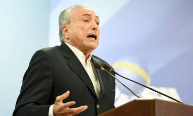 Presidente Temer em seu primeiro pronunciamento após a denúncia de encontro com empresário da JBS. Foto: Evaristo Sá/AFP