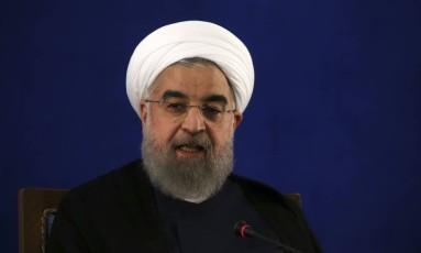 Presidente do Irã, Hassan Rouhani, participa de entrevista coletiva em Teerã Foto: Vahid Salemi / AP