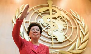 Diretora-geral da OMS, Margaret Chan abre, esta segunda-feira, a Assembleia Mundial da Saude, em Genebra, às vésperas do anúncio de seu sucessor Foto: FABRICE COFFRINI / AFP