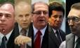 Os ex-ministros Fernando Bezerra Coelho, Guido Mantega, Paulo Bernardo, Alfredo Nascimento e Edison Lobão