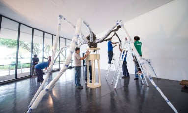 """Desmontagem de """"Aranha"""", obra da artista americana Louise Bourgeois Foto: Agência Ophelia / Divulgação"""