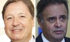 O deputado Rocha Loures (PMDB-PR) e o senador Aécio Neves (PSDB-MG) Foto: Montagem sobre fotos de divulgação e da Agência O Globo