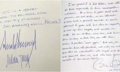 Diferença entre as mensagens deixadas por Trump (esquerda) e Obama (direita) no Memorial do Holocausto repercutiu na web Foto: Twitter/Reprodução