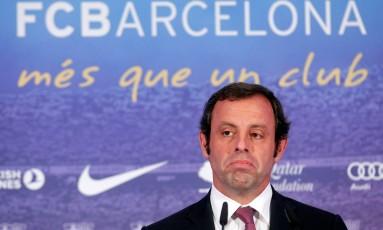 Sandro Rosell quando estava na presidência do Barcelona Foto: ALBERT GEA / REUTERS
