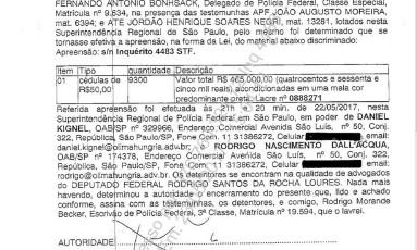 Documento da PF que mostra que a mala que estava em poder de Rocha Loures estava com R$ 465 mil Foto: Reprodução