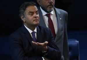 O senador afastado Aécio Neves (PSDB-MG) Foto: André Coelho / Agência O Globo 04/04/2017